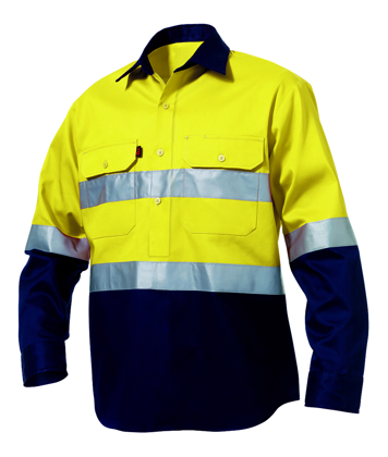 Picture of King Gee-K54325-Hi-Vis Closed Front Reflective Spliced Drill Shirt L/S