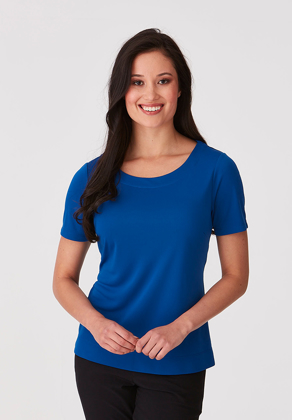 Picture of City Collection-2291-Smart Knit Short Sleeve Blouse