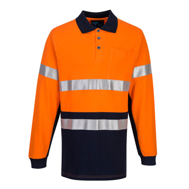 Picture of Prime Mover-MP619-  Long Sleeve Cotton Pique Polo with Tape