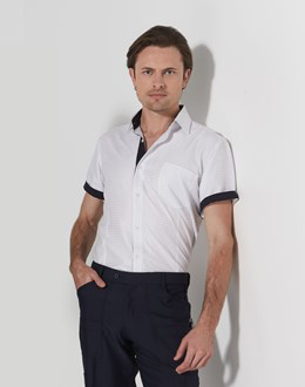 Picture of LSJ Collections-2097S-FL-Short sleeve Euro cut Shirt with contrast trim
